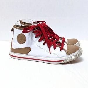 L.A.M.B. White Tan High Top Sneakers 7